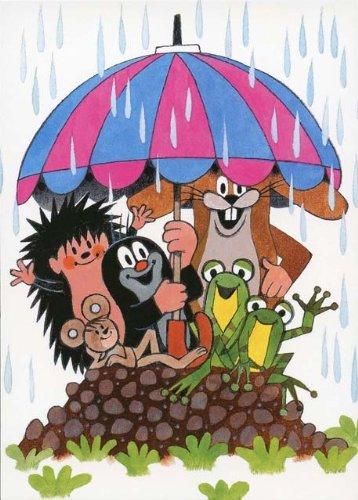 Postkarte - Maulwurf mit seinen Freunden im Regen