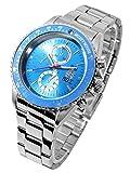 Disney ディズニー ミッキー 生誕80周年記念 回転 ベゼル 腕時計 ブルー スワロフスキー 銀色 青 [並行輸入品]