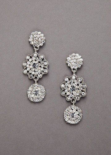 David's Bridal Pave Crystal 3 Drop Circle Earring Style AL1719, Silver
