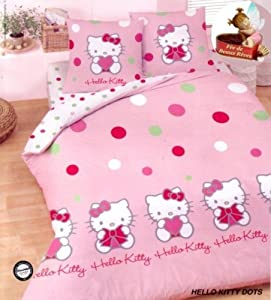 parure de lit housse de couette hello kitty dots 2. Black Bedroom Furniture Sets. Home Design Ideas