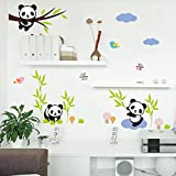 Amaonm Hot Fashion Nursery Room Decor Removable DIY 3D Panda Bamboo Birds Flying Butterfly Wall Decals Kids Room Decorations Wall Stickers Murals Peel Stick Girls for Bedroom Classroom (Color: Multicolor)
