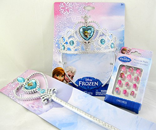 Disney Frozen 3 Piece Set: Tiara, Wand, and 12pk Press-on Nails - 1