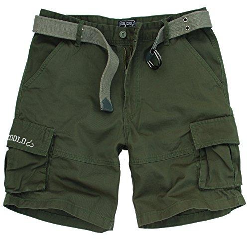 Fun Coolo Pantaloncini corti Bermuda Cargo short con tasconi laterali, con cintura verde M 48