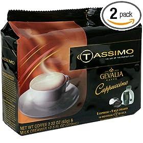 Gevalia Cappuccino, T-Discs for Tassimo Hot Beverage System, 8 Espresso & 8 Milk Creamers (Pack of 2)