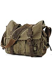 Vintage Army Canvas & Genuine Leather Shoulder Messenger Bag - Medium Size