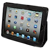 Snugg iPad 2 Leather Case Cover and Flip Stand with Elastic Hand Strap and Premium Nubuck Fibre Interior (Black)