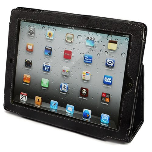 Sn iPad 2 Leather Case Cover and Flip Stand with Elastic Hand Strap and Premium Nubuck Fibre Interior (Black) - Automatically Wakes and Puts the iPad 2 to Sleep. Superior Quality Design as Featured in Wired Magazine.