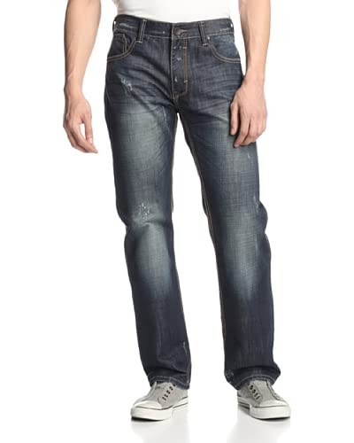 X-RAY Men's Straight Leg Jean with Rip/Repair