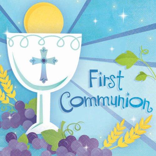 beverage napkins medium count first communion blue - 1