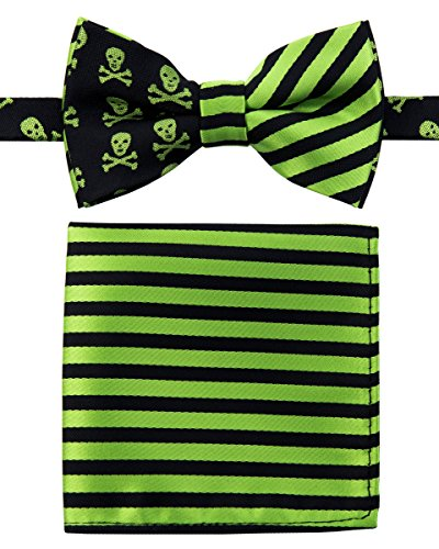 Canacana Cool Funky Skulls Woven Microfiber Pre-tied Boy's Bow Tie with Stripes Pocket Square Gift Box Set - Green and Black - 8 - 10 years (Green And Black Bow Ties compare prices)