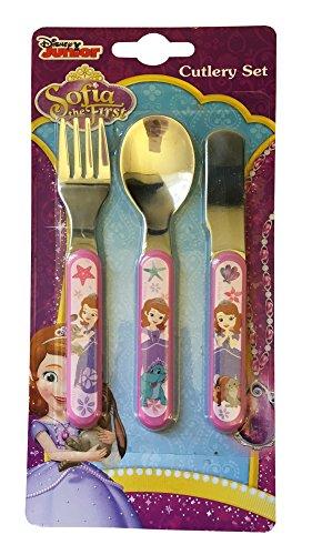 """Disney """"Sofia perle del mare», Set di posate in metallo, rosa, 3 pezzi"""