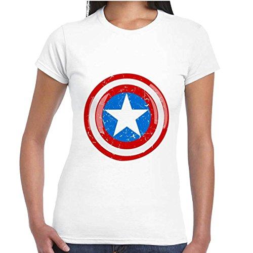 T-Shirt Donna Maglia Maniche Corte Supereroi Marvel Stampa Scudo Capitan America, Colore: Bianco, Taglia: S