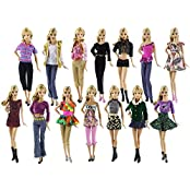 Lot 10 Set Fashion Handmade Clothes Outfit 10 Pairs Shoes For Barbie Doll