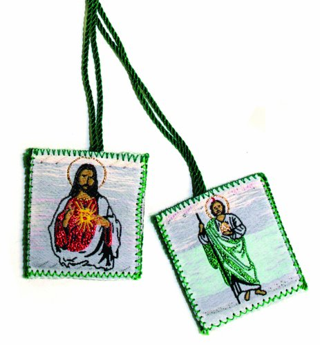 Scapular - Embroidered Cloth - Saint Jude - Sacred Heart Of Jesus - Green