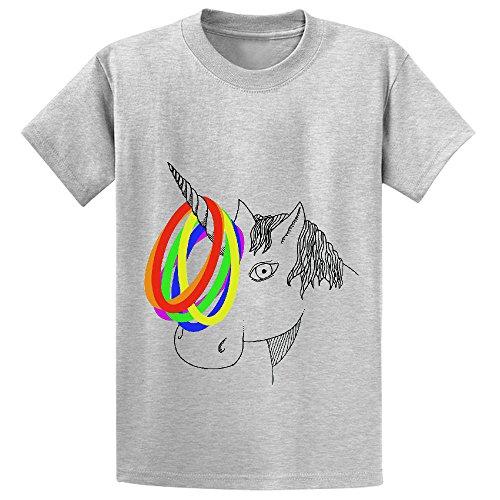 Unicorn Unicorn Game Teen Cute Crew Neck T-shirt Grey (Polish Parish Records compare prices)