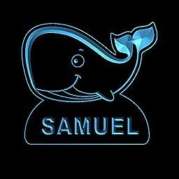 ws1037-0060-b SAMUEL Whale Night Light Nursery Baby Kids Name Day/ Night Sensor LED Sign