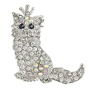 EVER FAITH Cute Crown Persian Cat Clear Austrian Crystal Brooch Pendant