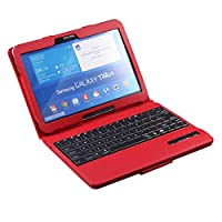 STYLE Samsung Galaxy Tab 4 10.1 Inch Bluetooth Keyboard Portfolio Case Wireless Detachable Bluetooth Keyboard Stand Case Cover for Samsung Galaxy tab 4 10.1 Inch Tablet SM-T530 / T531 / T535 - Red Color by YISITE Tech