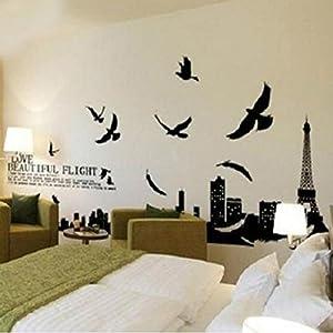 Great Value Wall Decor Paris Eiffel Tower Birds Removable Vinyl Wall Sticker Mural Art Home Decor Black by Mzamzi