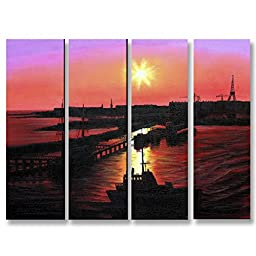 Neron Art - Handpainted Landscape Oil Painting on Gallery Wrapped Canvas Group of 4 pieces - Athens 32X24 inch (81X61 cm)