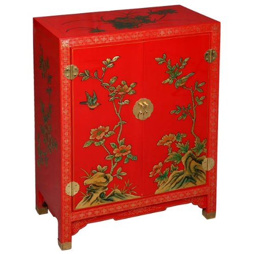 Cheap EXP Handmade Asian Furniture 29-Inch Imperial-Style Red and Gold Storage Cabinet/End Table Nature Motif (frc1195)