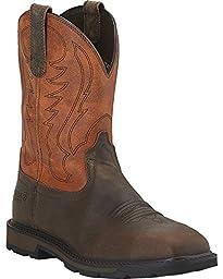 Ariat Men\'s Groundbreaker Wide Square Steel Toe Work Boot, Brown/Ember, 10.5 2E US