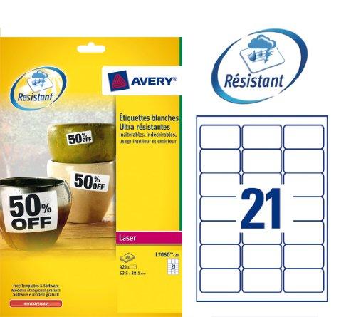Avery - L7060-20 - 420 étiquettes adhésives blanches ultra résistantes. 63,5x38,1mm. Impression laser
