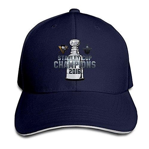 Runy Custom Pittsburgh Penguins Stanley Cup Adjustable Sandwich Hunting Peak Hat & Cap Navy
