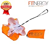 """RUNNING Resistance PARACHUTE By F1TNERGY Durable Top Quality 56"""" ORANGE Speed Sprint Training Chute - FREE Carrying Bag – Maximize & Explosive Acceleration – Soccer Football Agility Ladder Speed Rope"""