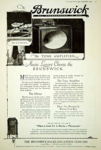 1919 Ad Vintage Brunswick Phonograph Ultona Tone Amplifier Record Player Cabinet - Original Print Ad