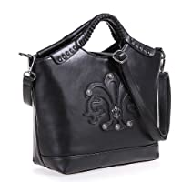 Fineplus Personality Split Cow Leather Rivet Iris Woven Handle Handbags