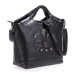 Fineplus Personality Split Cow Leather Rivet Iris Woven Handle Handbags