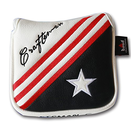 Craftsman Golf White Black Star Magnetic Golf Square Mallet Putter Cover Headcover Head Protector for Scotty Cameron Odyssey Taylormade Cleveland Nike Ping etc.
