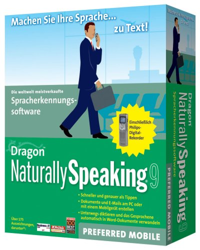 Dragon NaturallySpeaking Preferred 9: German with Recorder (PC)