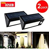 400lumen 32 Led Solar Motion Lights / Wall Sconces / Security Lights, Multi-mode Ip65 Waterproof and Heatproof Rechargeable Solar Porch Wall Lights, 2pcs 18650 Batteries Included + Screwdriver (For Free)