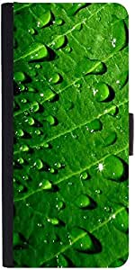Snoogg Dew Drops Graphic Snap On Hard Back Leather + Pc Flip Cover Moto-X2