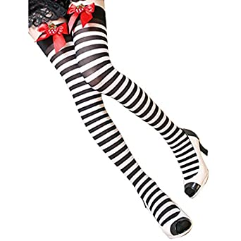 YML Women's Striped Strawberry Bow Thigh High Socks Stockings