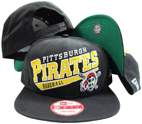 Pittsburgh Pirates Black Plastic Snapback Adjustable Plastic Snap Back Hat / Cap