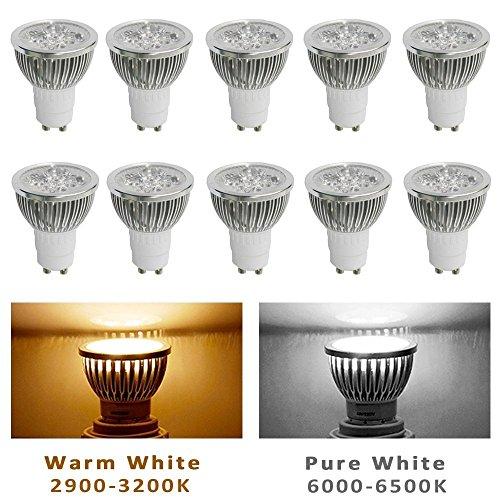10Pcs Pack 110V 4W Gu10 Led Bulbs - 6000K Daylight Spotlight - 330 Lumen, 50Watt Equivalent - 45 Degree Beam Angle