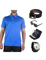 Garushi Blue T-Shirt With Watch Belt Sunglasses Cardholder - B00YMLQXK4