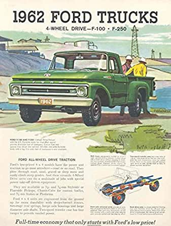 1962 Ford F100 F250 4 Wheel Drive Truck Brochure Pickup at Amazon's