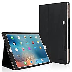 iPad Pro Case [Corner Protection], CaseCrown Bold Standby Pro (Black) w/ Apple Pencil Holder, Sleep / Wake, Hand Grip, & Multi-Angle Viewing Stand