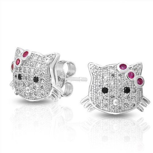 Bling Jewelry Micropave CZ Cool Kitty Girls 925 Silver Stud Earrings Ruby Color Bow