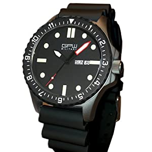 German Military Titanium Watch. GPW Day Date. Red Minute Hand. Black NATO Rubber Strap. Sapphire Crystal. 200M W/R. from ARCTOS Praezisionsuhren