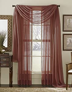 "63"" Long Sheer Curtain Panel - Burgundy"