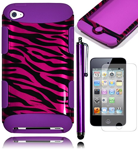 Bastex Heavy Dutysnap Together Tuff Case Cover For Apple Ipod Touch 4 - Purple And Black Zebra Print Hard Shell With Purple Soft Silicone Shell **Includes Screen Protector And Stylus** front-829700