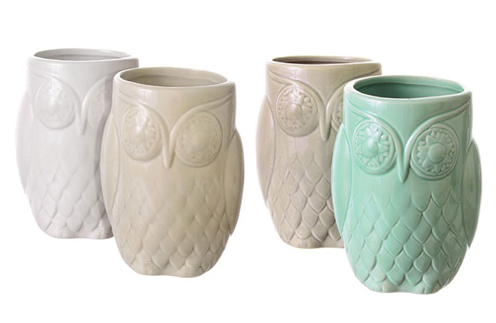 Set of Four Stoneware Owl Cups