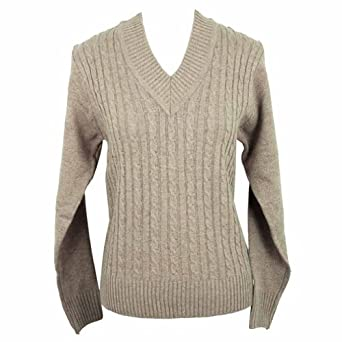 Luxury Divas Camel Tan V-neck Long Sleeve Cable Knit Sweater Size Small