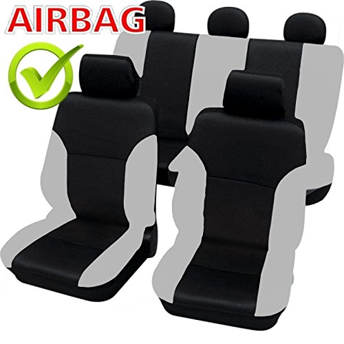 CUSB101 Quality Car Seat Cover Covers Slipcover With Side Airbag Black Grey