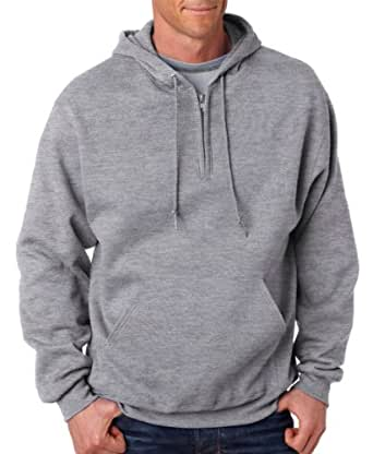 Jerzees 994MR 8 oz. NuBlend 50/50 Fleece Quarter-Zip Pullover Hood - Oxford - Small